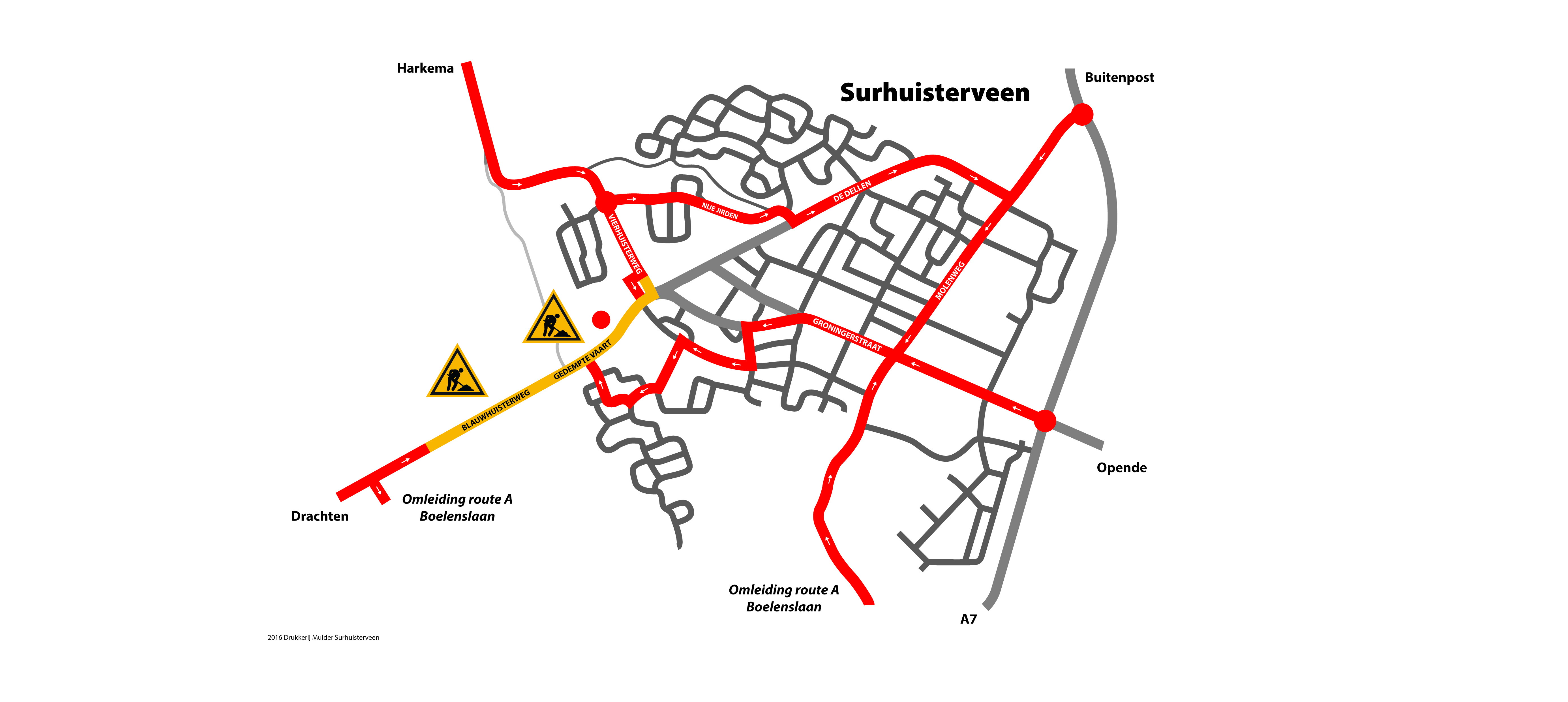 Routekaart Drukkerij Mulder…